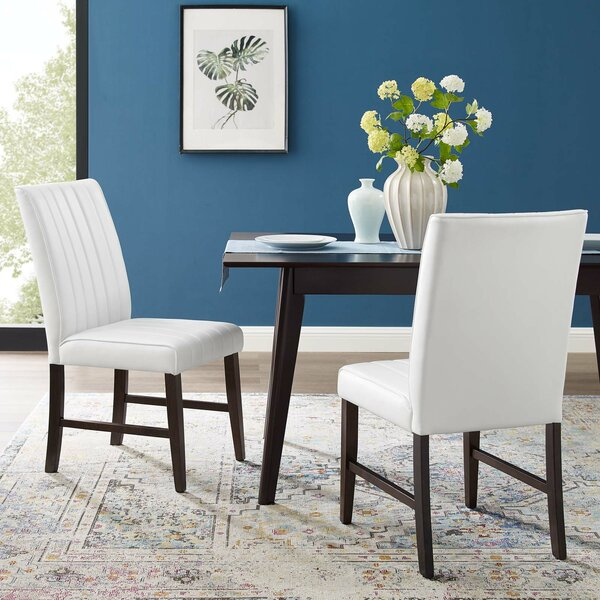 Woodvale Tufted Faux Leather Upholstered Dining Chair In White By Winston Porter