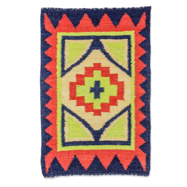 Rickmansworth Fiery Star Hand-Woven Wool Orange/Blue/Green Area Rug by Bloomsbury Market