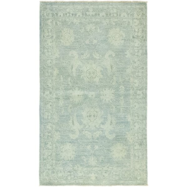 One-of-a-Kind Dexter Hand-Knotted Wool Teal Indoor Area Rug by Isabelline