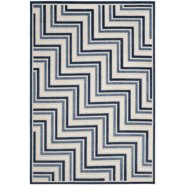 Holly Cream/Blue Indoor/Outdoor Area Rug by Langley Street