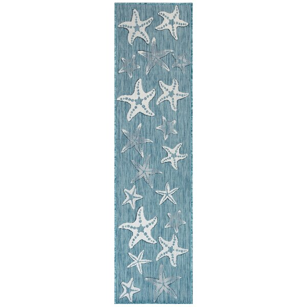 Desantiago Starfish Aqua Indoor/Outdoor Area Rug By Highland Dunes