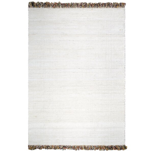 Skidmore Saguaro Hand-Woven White Area Rug by Bay Isle Home