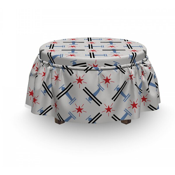 Vintage Airplane Retro Craft 2 Piece Box Cushion Ottoman Slipcover Set By East Urban Home