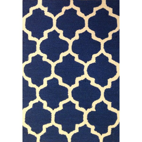 Talia Hand-Hooked Navy Area Rug by Charlton Home