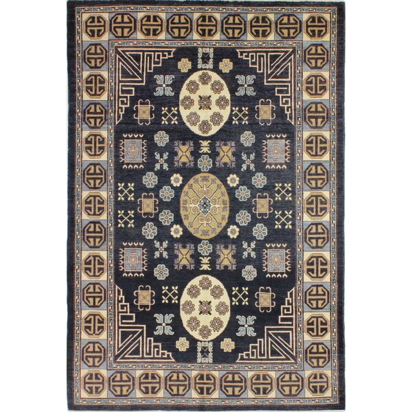 One-of-a-Kind Spina Hand Woven Wool Dark Blue Area Rug by Isabelline