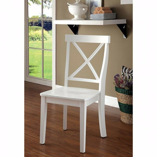 Gaetan Wooden  Armless Cross Back Side Chair In White (Set Of 2) By Highland Dunes