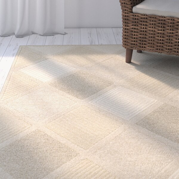 Argyle Hand Woven Wool Beige Area Rug by Highland Dunes