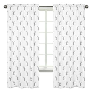 Stag Wildlife Semi Sheer Rod Pocket Curtain Panels Set Of 2