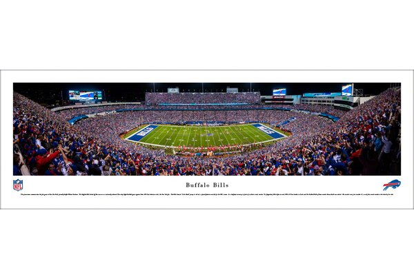 NFL Buffalo Bills 50 Yard Line Night Game Photographic Print by Blakeway Worldwide Panoramas, Inc