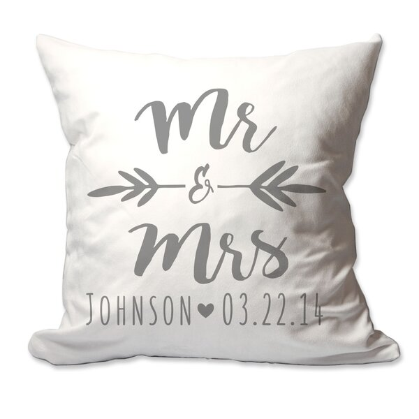 Personalized Brush Script Mr & Mrs Throw Pillow by 4 Wooden Shoes