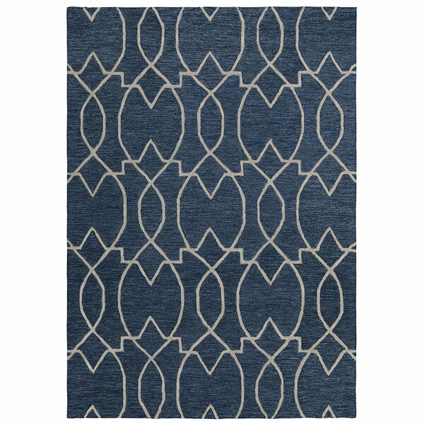 Hellman Natural Damask Trellis Hand-Tufted Wool Navy Area Rug by Mercer41