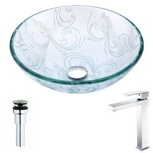 Vieno Glass Circular Vessel Bathroom Sink with Faucet ANZZI