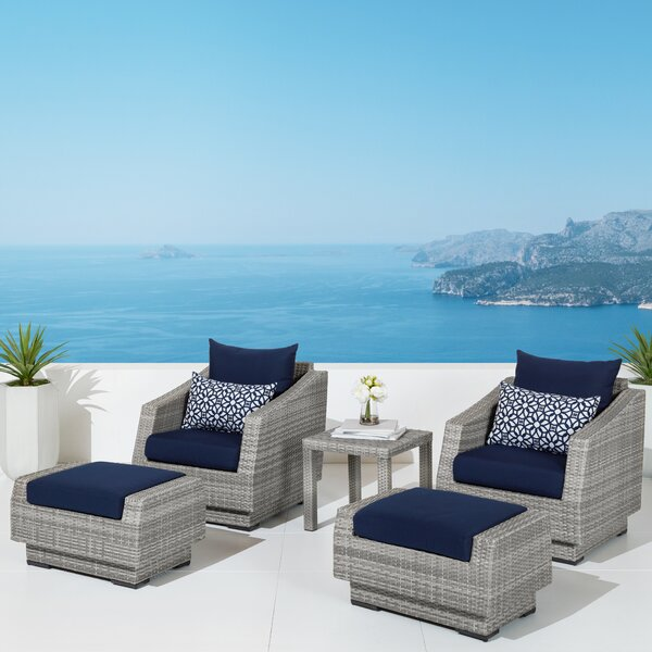 Castelli 5 Piece Rattan Conversation Set with Cushions by Wade Logan