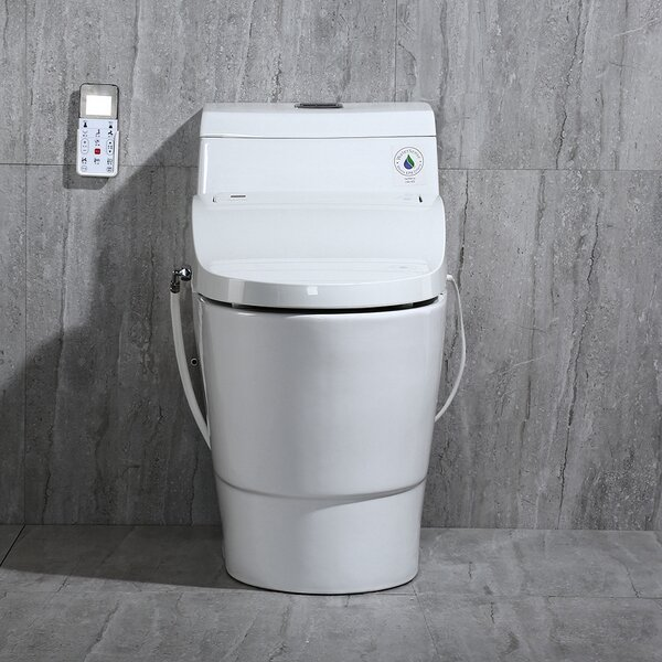 Dual-Flush Elongated One-Piece Toilet With Bidet Seat by WoodBridge