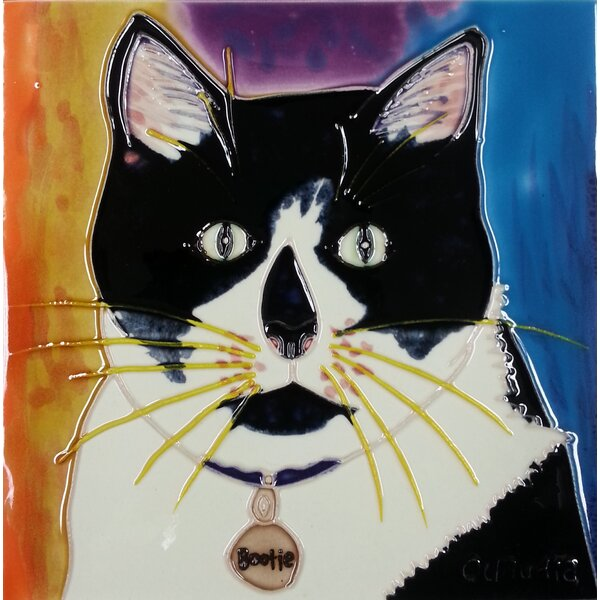 Cat in Black/White Tile Wall Decor by Continental Art Center