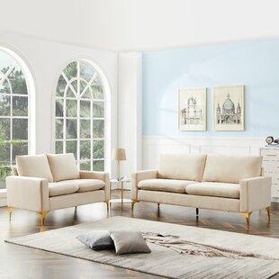 Aneurin 2 Piece Velvet Living Room Set by Everly Quinn
