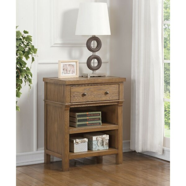 Migdalia Transitional Wood and Metal 1 Drawer Nightstand by Canora Grey