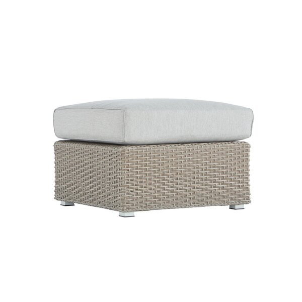 Pleasant Avenue Brick Square Outdoor Teak Ottoman with Cushion by Rosecliff Heights
