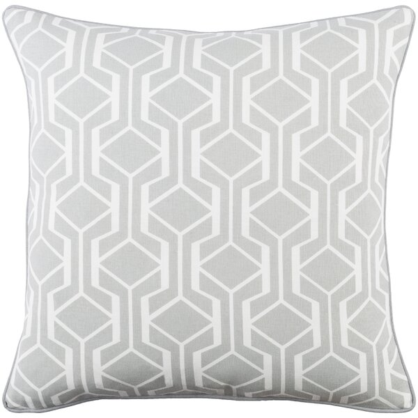 Antonia Contemporary Geometric Woven Cotton Throw Pillow by Langley Street