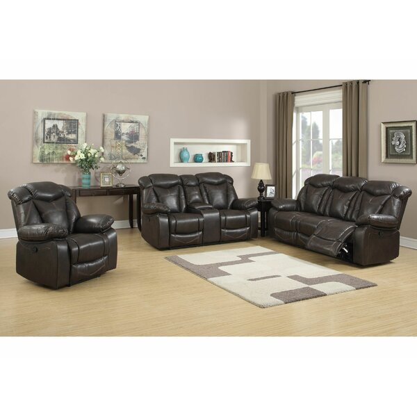 Madison Reclining Leather 3 Piece Living Room Set by Living In Style