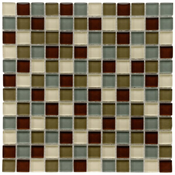 Sierra 0.88 x 0.88 Glass and Natural Stone Mosaic Tile in Blue/Brown by EliteTile