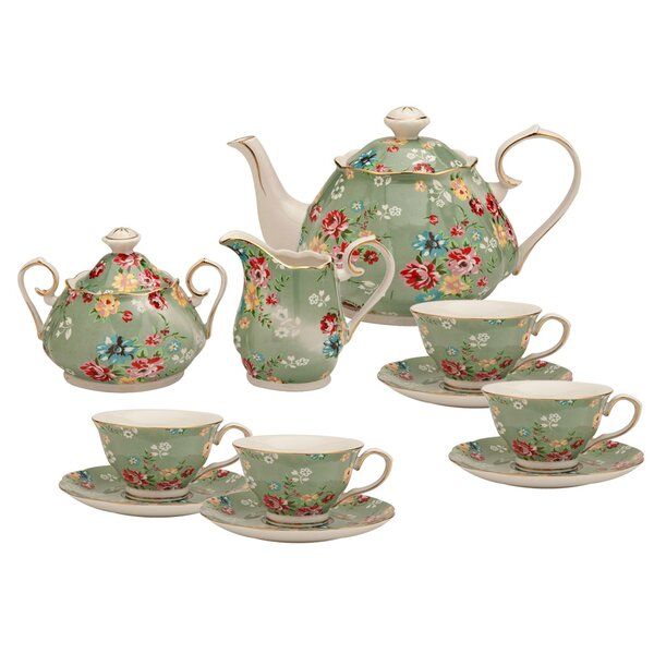 Palmquist Shabby Rose 11 Piece Porcelain Tea Set by Lark Manor
