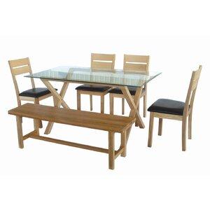 Essgruppe mit 4 Stühlen und 1 Bank von Hazelwoo..