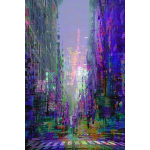 'Abstract Purple City Scene' by Cliff Warner Painting Print on Wrapped Canvas by Buy Art For Less