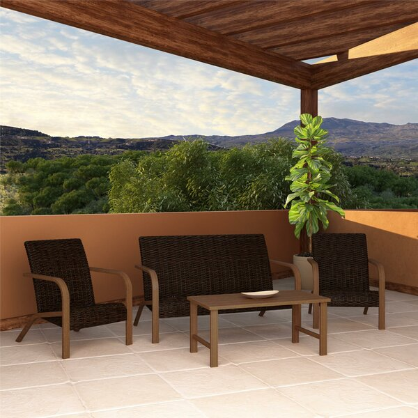 Woodstock 4 Piece Rattan Sofa Seating Group by Zipcode Design