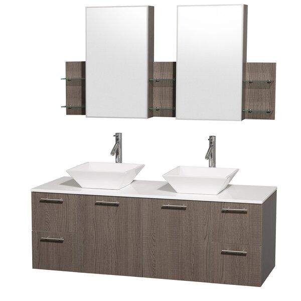 Amare 60 Double Gray Oak Bathroom Vanity Set with Medicine Cabinet by Wyndham Collection