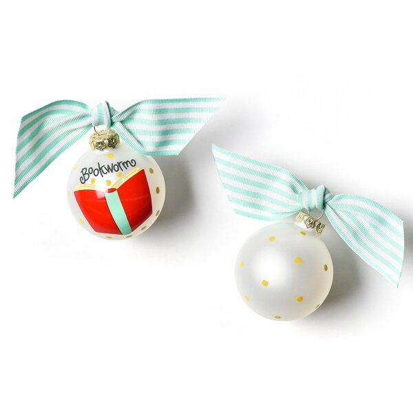Bookworm Glass Ball Ornament by Coton Colors