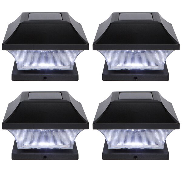 Solar Garden Pathway 4 LED Fence Post Cap (Set of