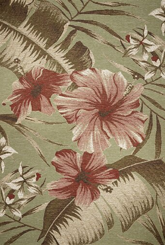 Maguire Moss Green Floral Hibiscus Indoor/Outdoor Area Rug by Bay Isle Home