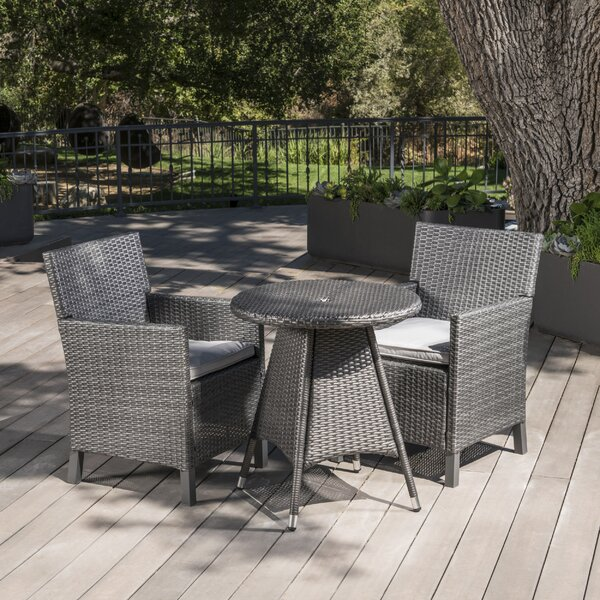 Araujo Outdoor Wicker 3 Piece Dining Set with Cushions by Ivy Bronx