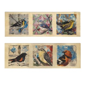 'Vintage Birds' 2 Piece Birch Wood Painting Print Set on Canvas by August Grove