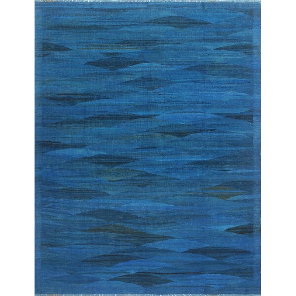 Alaina Hand-Knotted Wool Blue Area Rug by Wrought Studio