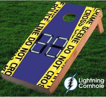 Electronic Scoring Crime Scene Cornhole Board by Lightning Cornhole