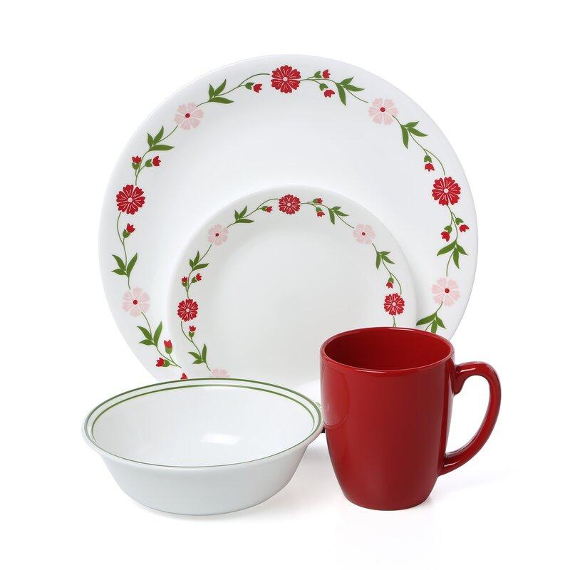 Livingware Spring Pink 16 Piece Dinnerware Set, Service For 4
