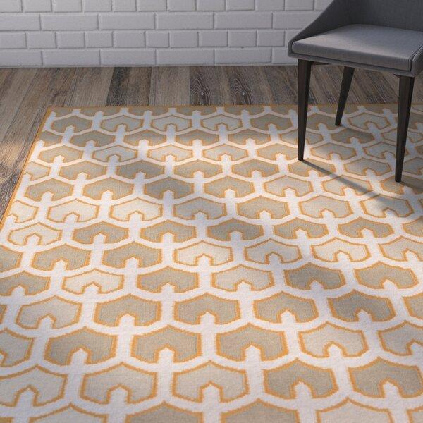 Criss Burnt/Orange Geometric Area Rug by Wrought Studio