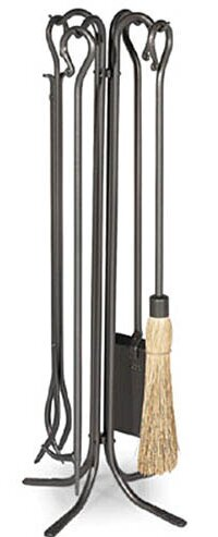 Large Hearth 5 Piece Steel Fireplace Tool Set by Pilgrim Hearth