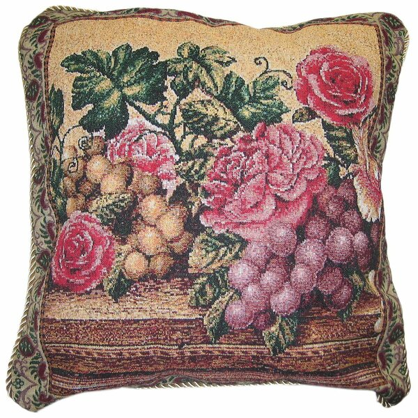 Parade of Fruit and Rose Woven Pillow Cover by DaDa Bedding