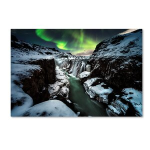 'Gullfoss' Graphic Art Print on Wrapped Canvas by Trademark Fine Art