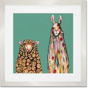 'Llama Loves Sheep on Teal' Framed Graphic Art Print by GreenBox Art