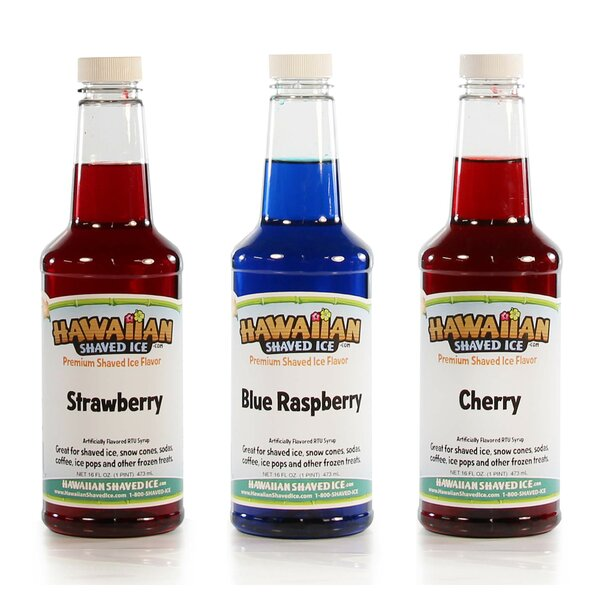 Berry Flavor Syrup, 16 oz (3 Pack) by Hawaiian Shaved Ice