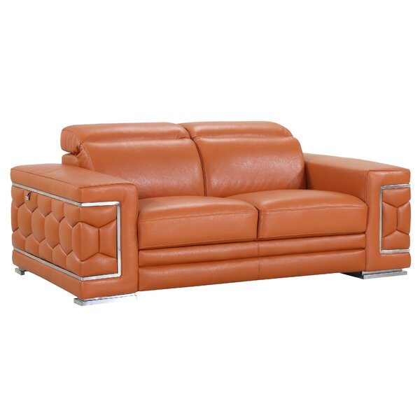 Reviews Hawkesbury Common Genuine Leather 71 Pillow top Arm Loveseat by Orren Ellis