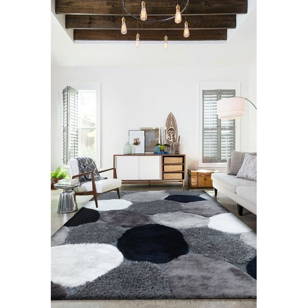 Shelldrake Shag Hand Tufted Gray/Navy Area Rug by Orren Ellis