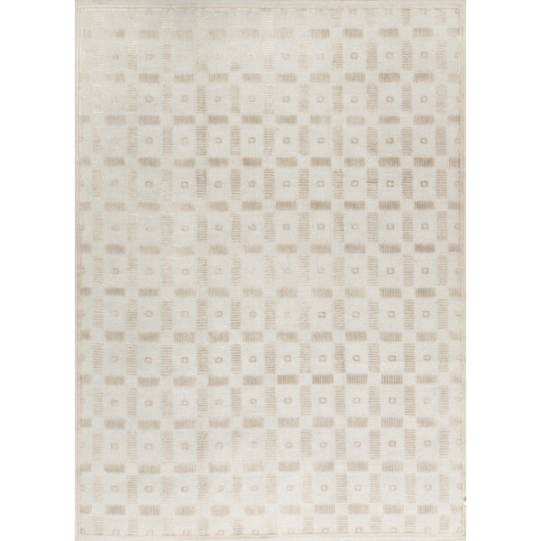 Geometric Hand-Knotted Wool Beige Area Rug