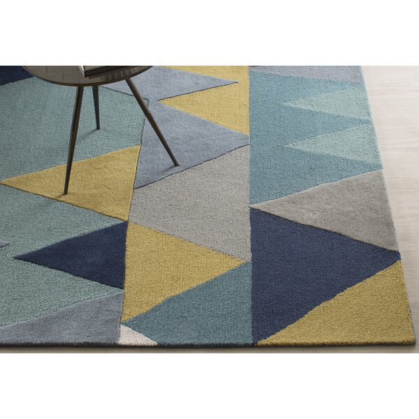 Nida Hand-Tufted Wool Blue Area Rug by Wrought Studio