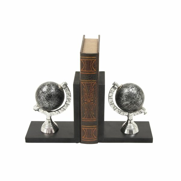 Smart Wood Aluminum Globe Bookends by World Menagerie