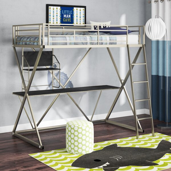 Hedy Four Poster Twin Loft Bed with Bookcase by Zoomie Kids Zoomie Kids